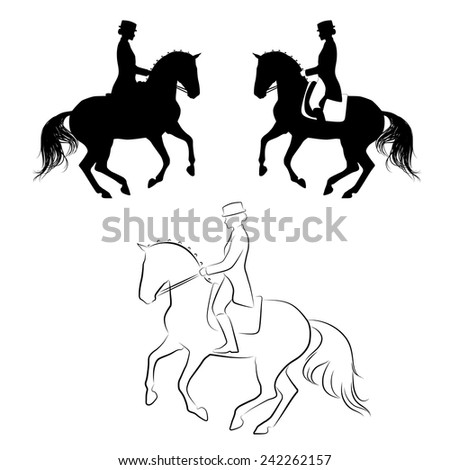 Set of 3 silhouettes of dressage horse with rider performing pirouette - stock vector