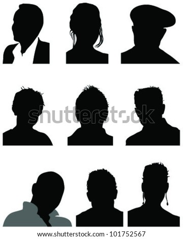 Frankenstein Head Silhouette Set of silhouettes of heads 2 Frankenstein Head Silhouette