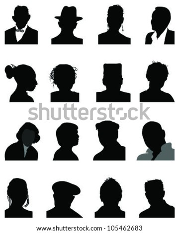 Set of silhouettes of heads 4, vector - stock vector