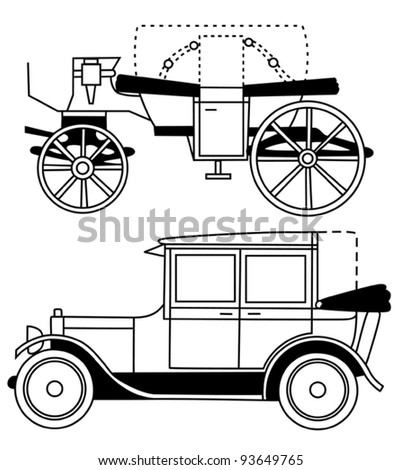set of silhouettes of old cars - vector - stock vector