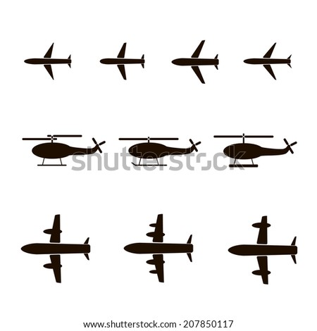 Set of silhouettes of planes and helicopters - stock vector