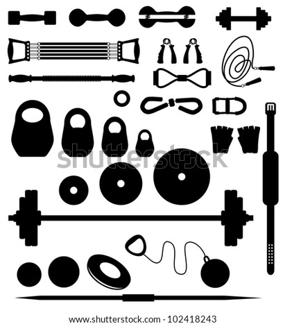 Set of silhouettes of the equipment for weightlifting - stock vector