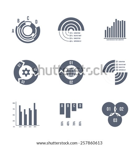 Set of silhouettes of vector diagrams, charts and graphs isolated on white - stock vector