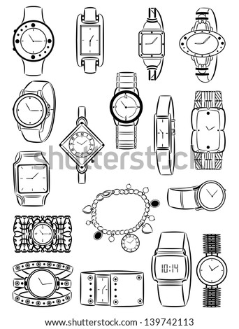 Set of silhouettes of women's watches - stock vector