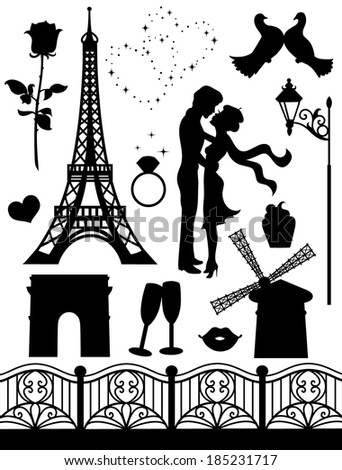 Set of silhouettes on a romantic theme.   - stock vector