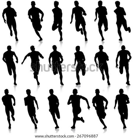 Set of silhouettes. Runners on sprint, men. vector illustration. - stock vector