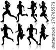 Set of silhouettes. Runners on sprint, women. vector illustration. - stock vector