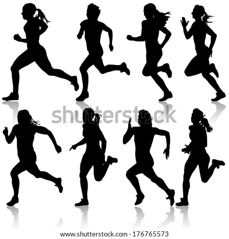 Set of silhouettes. Runners on sprint, women. vector illustration. - stock vector