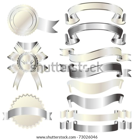 set of silver and white ribbon - stock vector