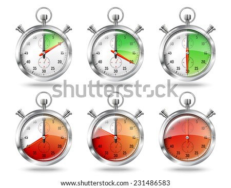 Set of silver bright stopwatch clock intervals, isolated on white background. Vector - stock vector