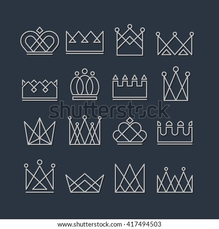 Set of silver crown icons. Collection of crown awards for winners, champions, leadership. Vector isolated elements for logo, label, game, website, hotel, an app design.  King, queen or princess crown - stock vector