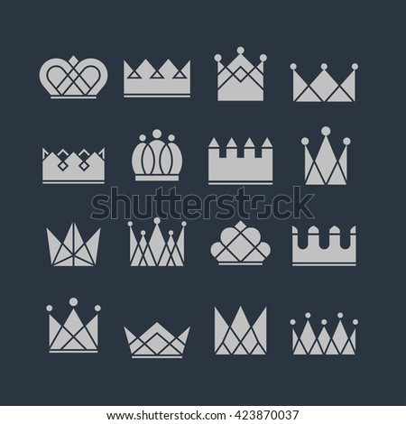 Set of silver crown icons. Collection of crown awards for winners, champions, leadership. Vector isolated elements for logo, label, game, website, hotel, an app design.  Royal king or queen crown.  - stock vector