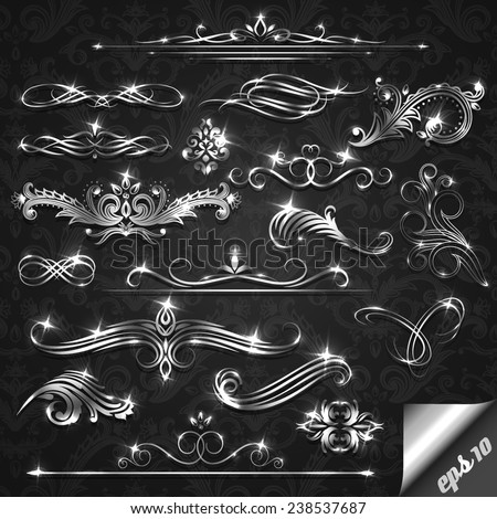 Set of silver ornate design elements - eps10 - stock vector