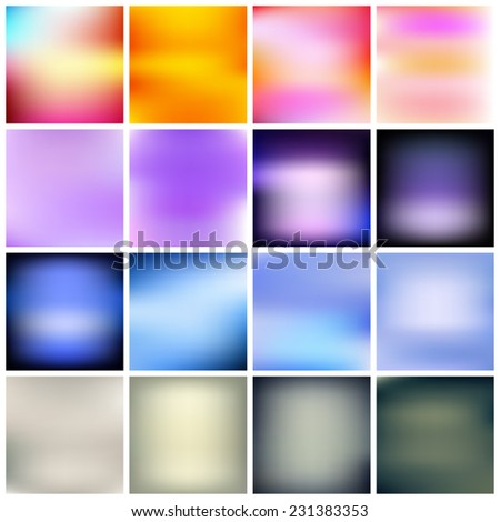 Set of simple abstract blurred multicolored backgrounds. Vector - stock vector