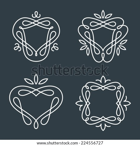 Set of simple and graceful monogram design templates, Elegant lineart logo design elements, vector illustration - stock vector