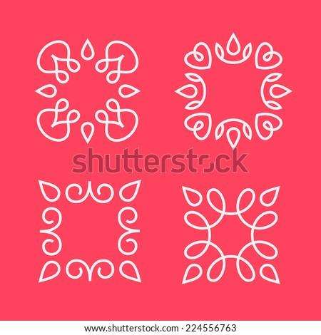 Set of simple and graceful monogram design templates, Elegant lineart logo design elements, vector illustration - stock vector