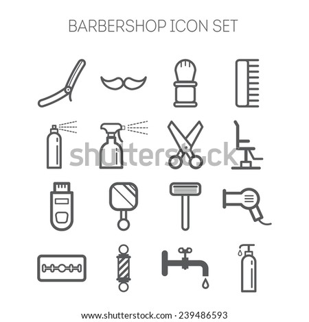Set of simple barbershop icons - stock vector