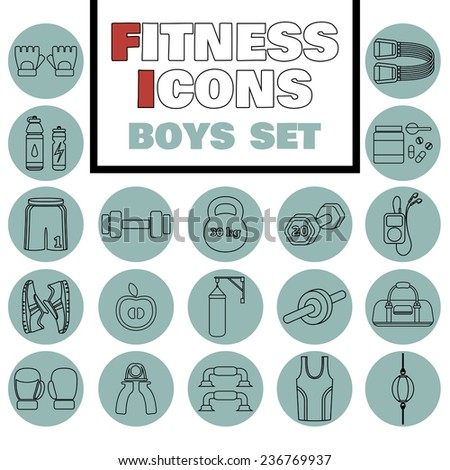 Set of simple black fitness thin line icons for boys. Vector illustration of sport symbols in flat style on colored circles background - stock vector