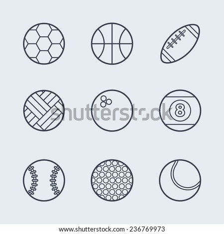 Set of simple black sport balls thin line icons for different games. Vector illustration of sport symbols in flat style on the light background - stock vector