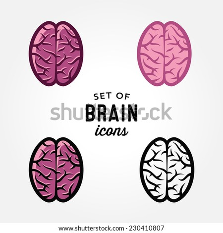 Set of simple brain icons, design elements, vector illustration - stock vector