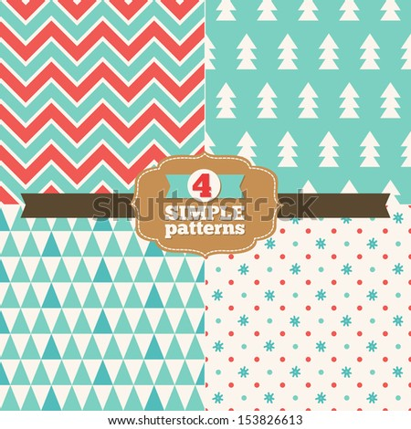 Set of simple Christmas patterns - stock vector