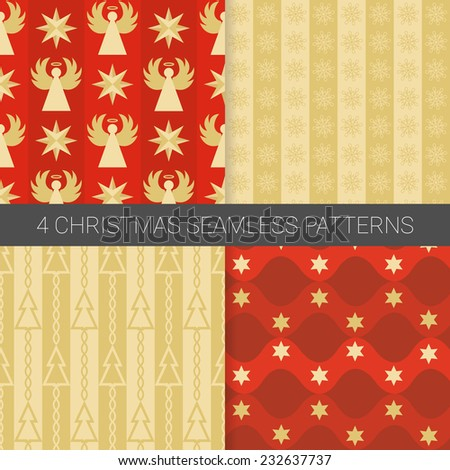 Set of simple Christmas patterns with christmas tree, angel, star and snowflakes in red and gold. Suitable for textile, gift cards, wallpapers and gift wrapping paper. - stock vector