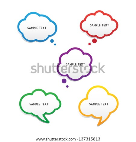 Set of Simple Colorful Speech Bubbles - stock vector