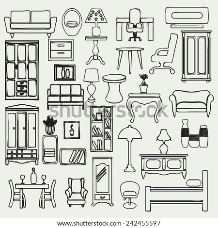 Set of simple doodle image of hand drawn of furniture and interior subjects - stock vector