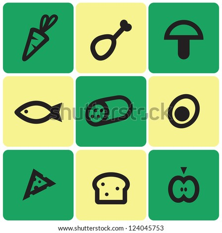 Set of simple food icons - stock vector