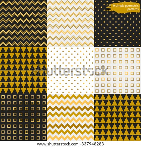 Set of simple geometric seamless patterns in black, white and gold colors. Vector templates. - stock vector