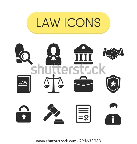 Set of simple grey vector justice, law and legal icons - stock vector