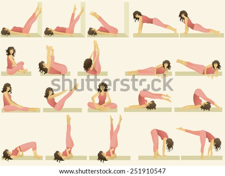 Set of simple  gymnastic exercises - stock vector