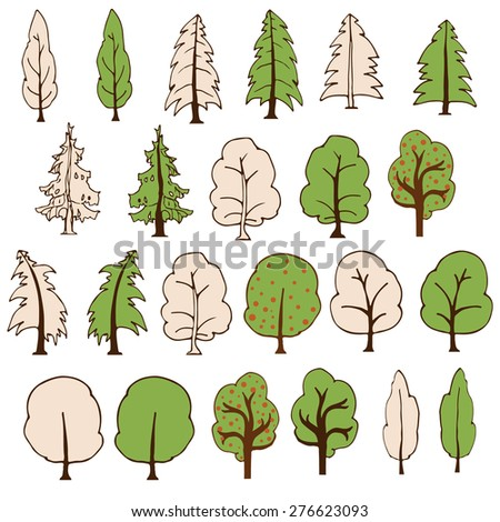 Set of simple hand drawn trees, isolated on white background. Vector illustration - stock vector