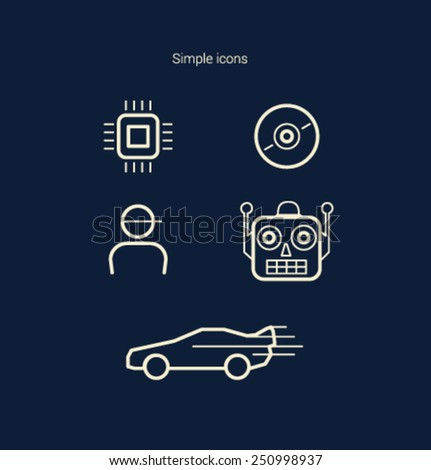 Set of simple icons for website and mobile application. Flat design. Vector. Editable. - stock vector