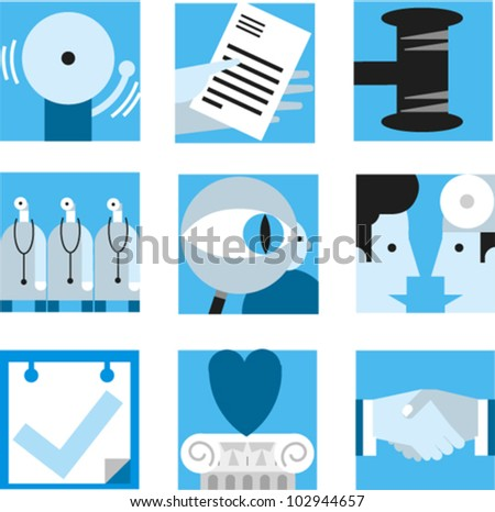 Set of simple icons to illustrate concepts of health care, legal, business, etc. - stock vector