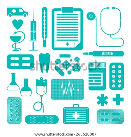 Set of simple medical icons isolated on white background. Vector illustration - stock vector