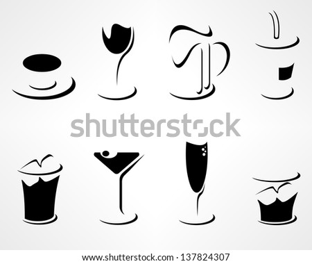 Set of simple minimalistic various drinks icons. Easy editable layered vector illustration isolated on white. - stock vector