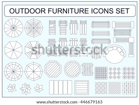 Set of simple outdoor furniture vector icons as design elements - beach chair, bench, table, umbrella, round sofa, seamless floor tiles samples, sofa, chair, plants, armchair - stock vector