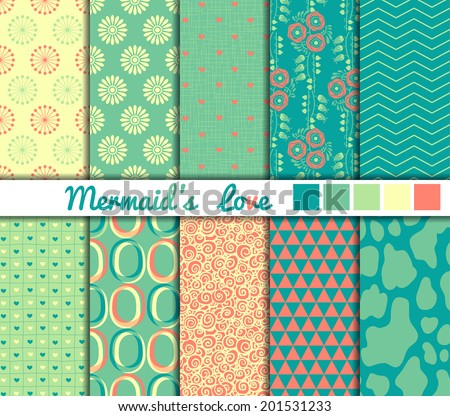 "Set of 10 simple seamless patterns. ""Mermaid's Love"" color palette. - stock vector"