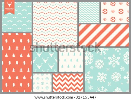 Set of simple seamless retro Christmas colorfull patterns - stock vector