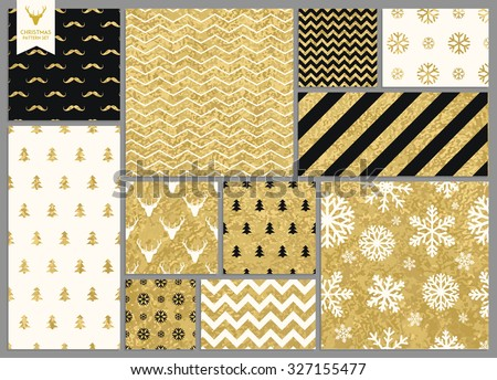 Set of simple seamless retro gold texture Christmas patterns - stock vector