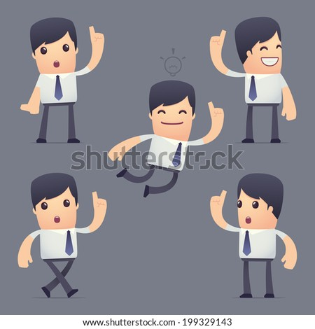 set of simple universal characters in different poses. businessman. Use the character in dialog poses with other characters from this series - stock vector
