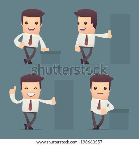 set of simple universal characters in different poses. manager. - stock vector
