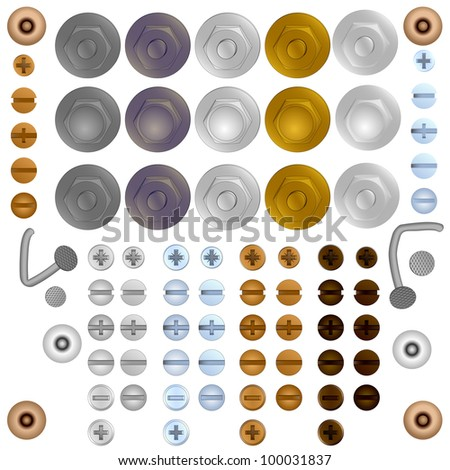 Set of simple vector illustration bolt and screw heads. - stock vector
