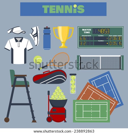 Set of simple white silhouettes big tennis icons. Vector illustration of sport symbols in flat style with long shadows on multicolored circles background - stock vector