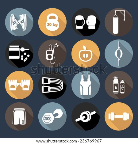 Set of simple white silhouettes fitness icons for girls. Vector illustration of sport symbols in flat style with long shadows on multicolored circles background - stock vector