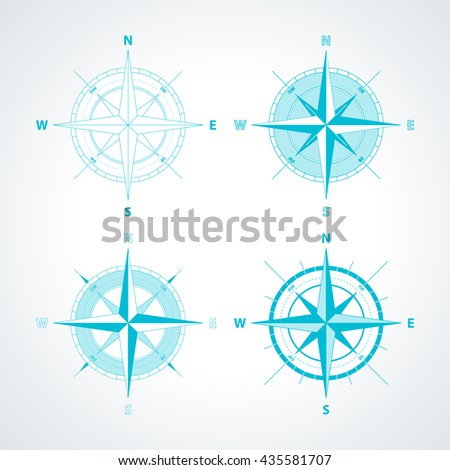 Set of Simple wind roses isolated on white background. Modern thin line compass icon illustration. - stock vector