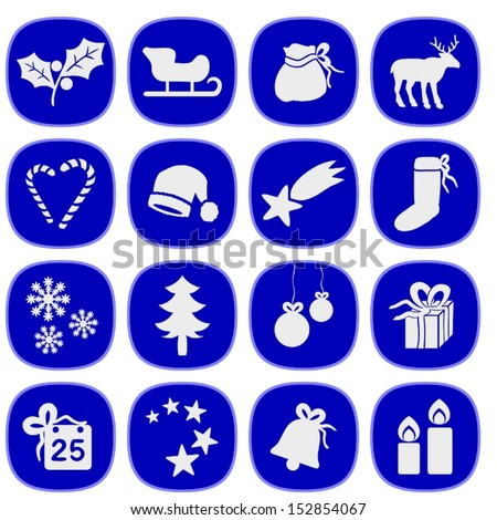 Set of simple xmas icons in blue and silver colors. This is a vectorial image, can be resized without loss of quality. - stock vector