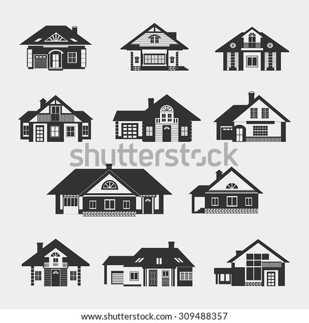 Set of single-storey houses with attics provincial. Front view. Various architectural solutions. Dark silhouettes against a light background. - stock vector
