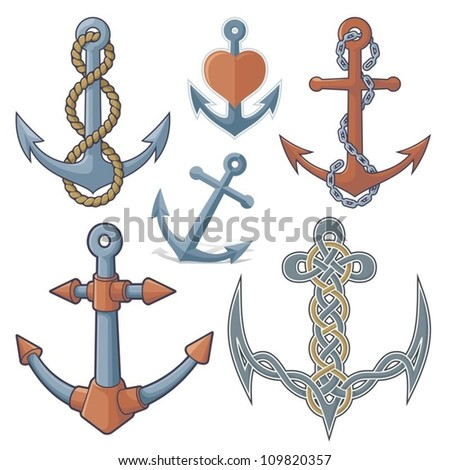 Set of six anchor icons isolated on white background. - stock vector